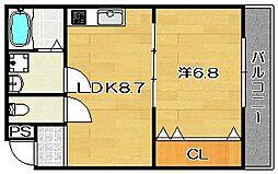 大阪府茨木市南耳原2丁目の賃貸アパートの間取り