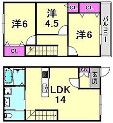 [タウンハウス] 兵庫県西宮市花園町 の賃貸【兵庫県 / 西宮市】の間取り