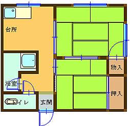 浜口マンション西[1F1号室]の間取り