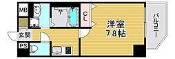 ファーストフィオーレ大阪ウエスト 4階1Kの間取り