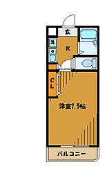東京都国立市西の賃貸マンションの間取り