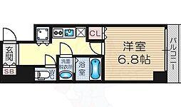 レジュールアッシュPREMIUM TWIN-2 9階1Kの間取り