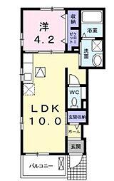 JR山陽本線 北長瀬駅 徒歩23分の賃貸アパート 1階1LDKの間取り