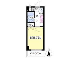 サニーコート福島 9階1Kの間取り