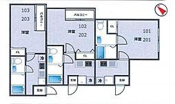神奈川県横浜市南区西中町3丁目の賃貸アパートの間取り
