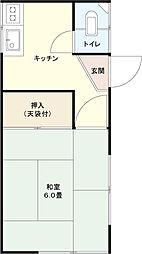 東京都渋谷区本町4丁目の賃貸アパートの間取り