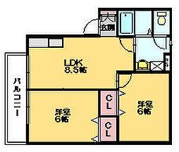 サンティール門松 B[2階]の間取り