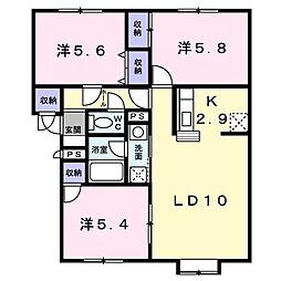 北海道札幌市清田区真栄二条2丁目の賃貸アパートの間取り