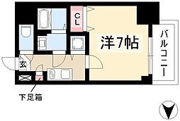 エスプレイス鶴舞ガーデンテラス 8階1Kの間取り