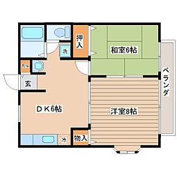宮城県仙台市太白区鹿野本町の賃貸アパートの間取り