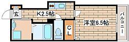 神戸市海岸線 ハーバーランド駅 徒歩9分の賃貸マンション 2階1Kの間取り