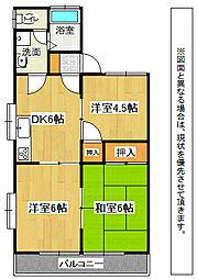 福岡県中間市太賀4丁目の賃貸アパートの間取り