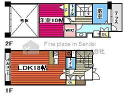 仙台市営南北線 勾当台公園駅 徒歩6分の賃貸マンション 3階1LDKの間取り