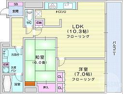 アップルタワーズ ブローディア 17階2LDKの間取り
