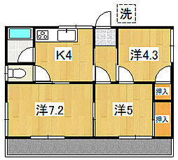 会瀬根本コーポ[201号室]の間取り