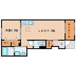 JR関西本線 大和小泉駅 徒歩14分の賃貸アパート 1階1LDKの間取り