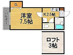 福岡県福岡市中央区福浜1丁目の賃貸アパートの間取り
