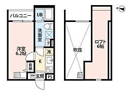 近鉄南大阪線 矢田駅 徒歩14分の賃貸アパート 1階1Kの間取り