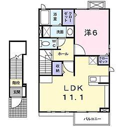 静岡県富士市長通の賃貸アパートの間取り