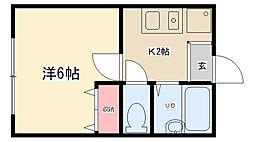 神奈川県相模原市南区若松6丁目の賃貸アパートの間取り
