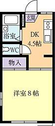 茨城県土浦市真鍋新町の賃貸アパートの間取り
