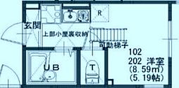 プライムテラス登戸 B棟 2階ワンルームの間取り