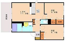 福岡県福岡市南区弥永3丁目の賃貸アパートの間取り
