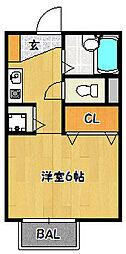 兵庫県神戸市北区鈴蘭台北町6丁目の賃貸アパートの間取り