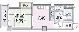 サンハイツ小田原9階Fの間取り画像