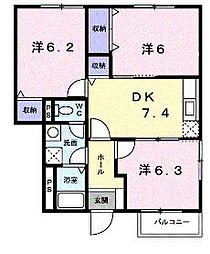 香川県坂出市横津町3丁目の賃貸アパートの間取り