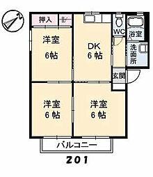 バリュージュ D棟[2階]の間取り
