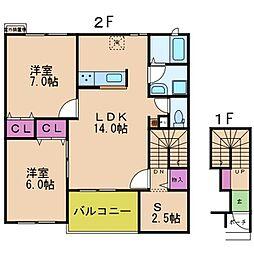 若江岩田駅徒歩10分 ラ・ルーチェ・M[2階]の間取り