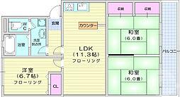 仙台市営南北線 台原駅 徒歩11分の賃貸マンション 1階3LDKの間取り