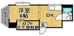 コバルトハイツ六本松[3階]の間取り