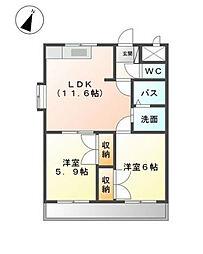 福岡県北九州市小倉南区上貫2丁目の賃貸アパートの間取り