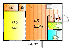 長寿マンション[2階]の間取り