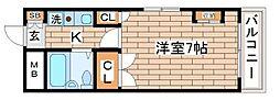 兵庫県神戸市須磨区須磨寺町2丁目の賃貸マンションの間取り