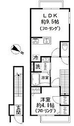 都営浅草線 五反田駅 徒歩10分の賃貸アパート 2階1LDKの間取り