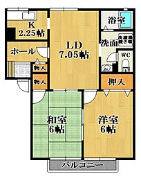 菊水ハイツA[1階]の間取り