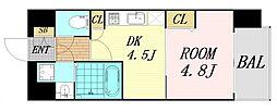 レジュールアッシュ京橋ファーストステージ 6階1Kの間取り