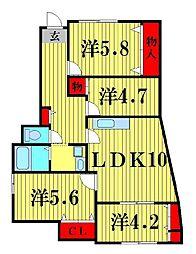 千葉県松戸市下矢切の賃貸マンションの間取り