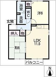 ダンケK&K[1階]の間取り