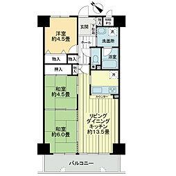 ライオンズマンション加古川リバーサイド[6階]の間取り