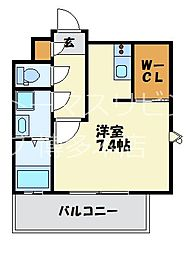 福岡市地下鉄七隈線 渡辺通駅 徒歩4分の賃貸マンション 12階1Kの間取り