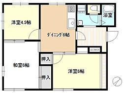 神奈川県茅ヶ崎市中島の賃貸アパートの間取り