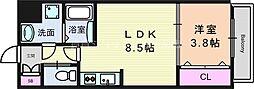 阪急千里線 吹田駅 徒歩10分の賃貸マンション 1階1LDKの間取り