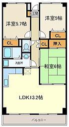 グリーンリーフ南仙台[3階]の間取り