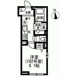 東急世田谷線 下高井戸駅 徒歩5分の賃貸マンション 1階1Kの間取り