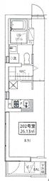JR山手線 浜松町駅 徒歩14分の賃貸マンション 2階ワンルームの間取り
