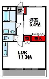 福岡県宗像市江口の賃貸アパートの間取り